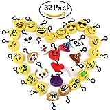 Cusfull Mini Emoji Portachiavi pezzi /Portachiavi Decorazioni/Portachiavi Emoji Faccine Portachiavi Emoticon Più Usate su Whatsapp Ideale come Decorazione per Personalizzare Zaino, Borsa, Borsoni da Palestra ect. - Perfetto Regalo / Pensiero Regalo per Bambini,Per il giorno dei bambini, Natale, compleanni(32pcs)
