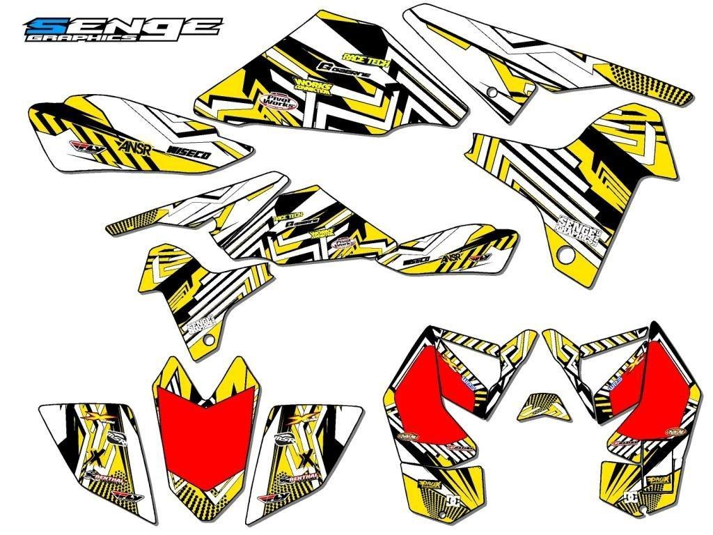 センジgraphics2006 – 2009スズキLtr 450、Mayhemイエローグラフィックキット B01N5VP4U7