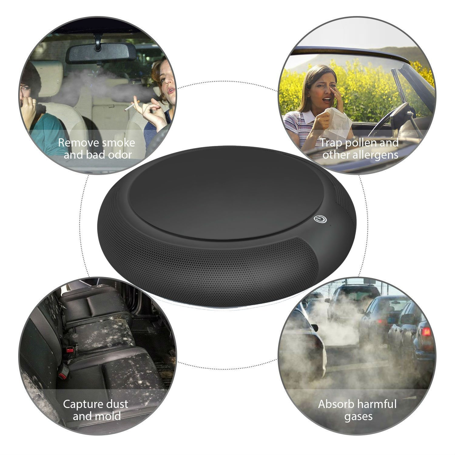 ZEERKEER Car Air Purifier Car Diffusers Portable Mini Travel Table USB Air Cleaner FreshenerFit in the car and other small area (black) by ZEERKEER (Image #10)