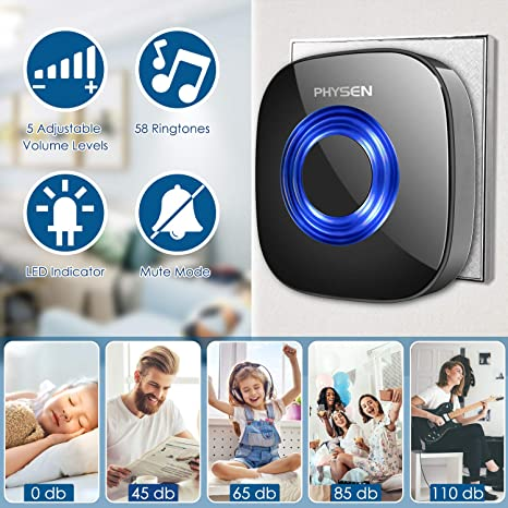 Wireless Doorbell,PHYSEN CW Waterproof Wireless Door Bell Door Chime,2 Push Buttons and 3 Plug in Receivers,Operating up to 1000 Feet Range,4 Adjustable Volume Levels with 52 Chimes,White/&Blue LED Rexonfoxy