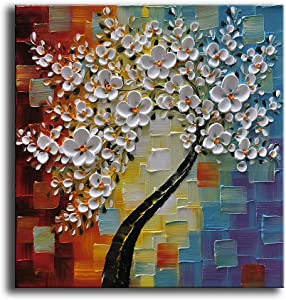 YaSheng Art - Hand-Painted Oil Painting On Canvas White Flowers Paintings Modern Home Interior Decor Wall Art for Living Room Abstract Art Picture Ready to Hang 24x24inch