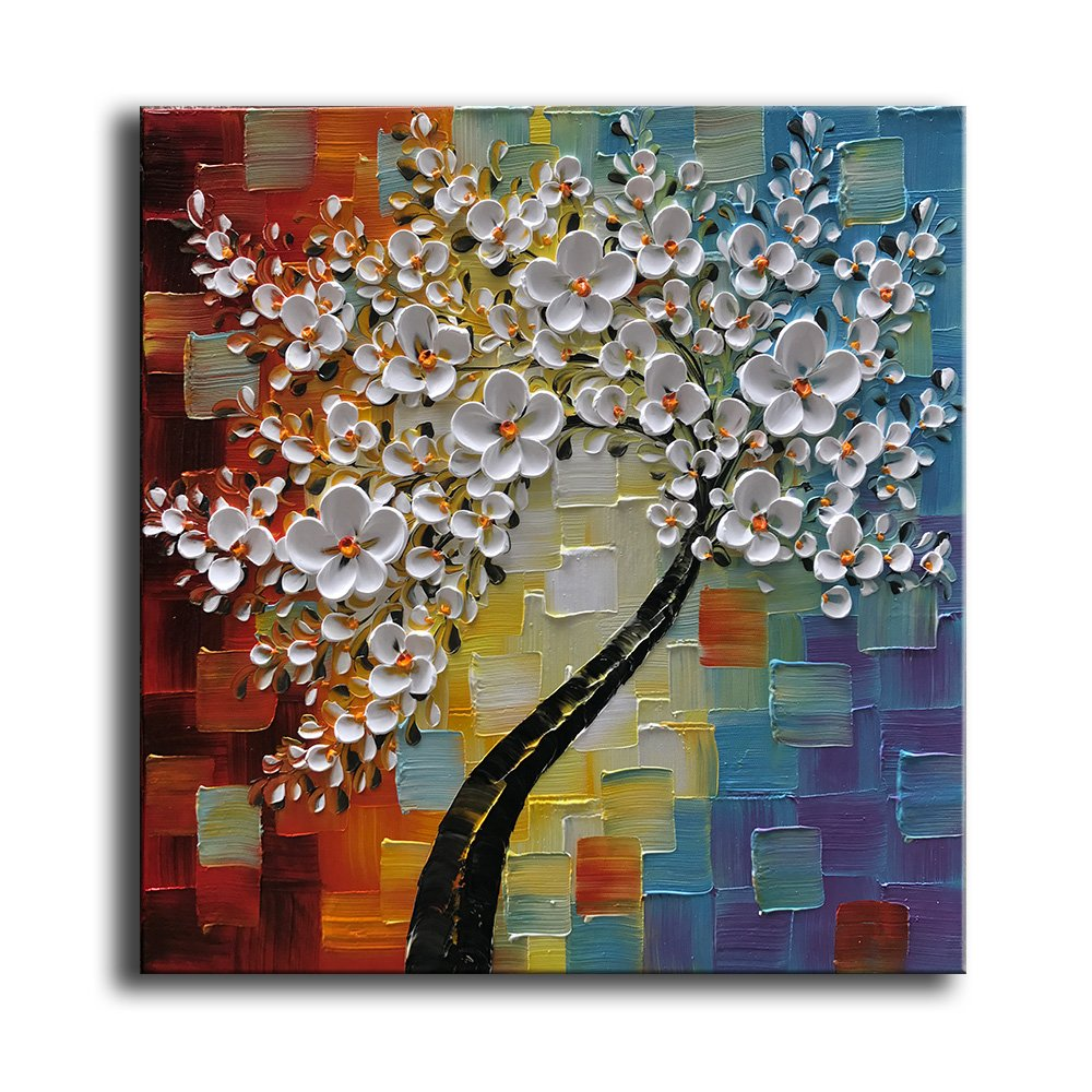Yasheng art hand painted oil painting on canvas white flowers paintings modern home interior decor wall art for living room abstract art picture ready to