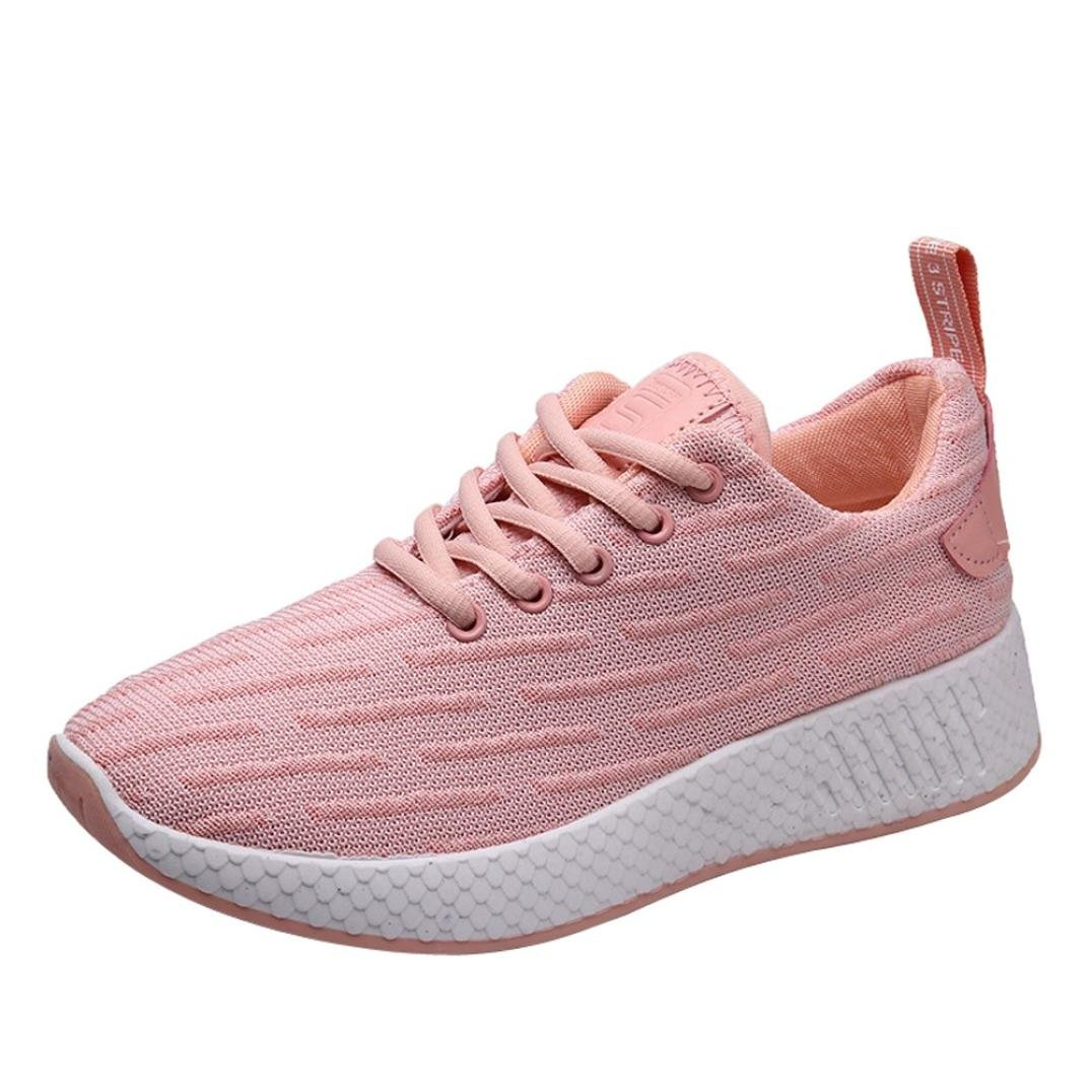 Aurorax-Shoes Clearance Sale Women's Girls Mesh Lightweight Breathable Casual Wedges Sneakers (Lace up Pink, US:6)