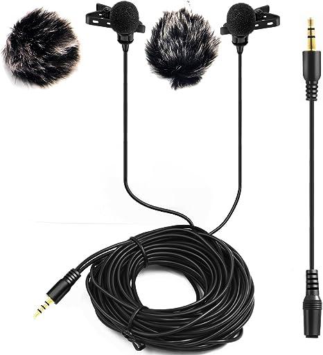 Dual-headed Micrófono de Solapa con 2 Micrófono Parabrisas ,LVM2 ...