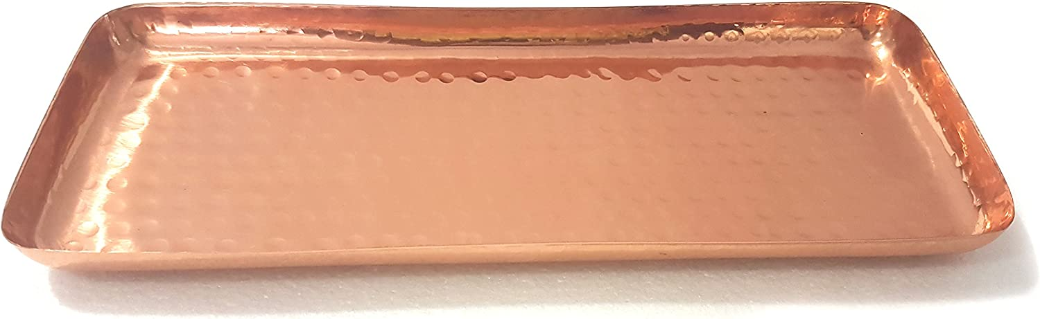 Pure Copper Serving Hammered Rectangular Tray Antique Charger Platter- Best Copper Gifts - 12