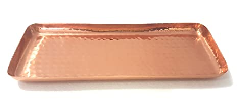 Alchemade Pure Copper Serving Hammered Rectangular Tray Antique Charger  Platter- Best Copper Gifts - 12