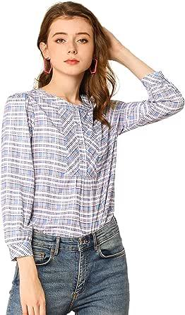 Allegra K Women's Plaid Casual Long Sleeve Lightweight Blouse Tops