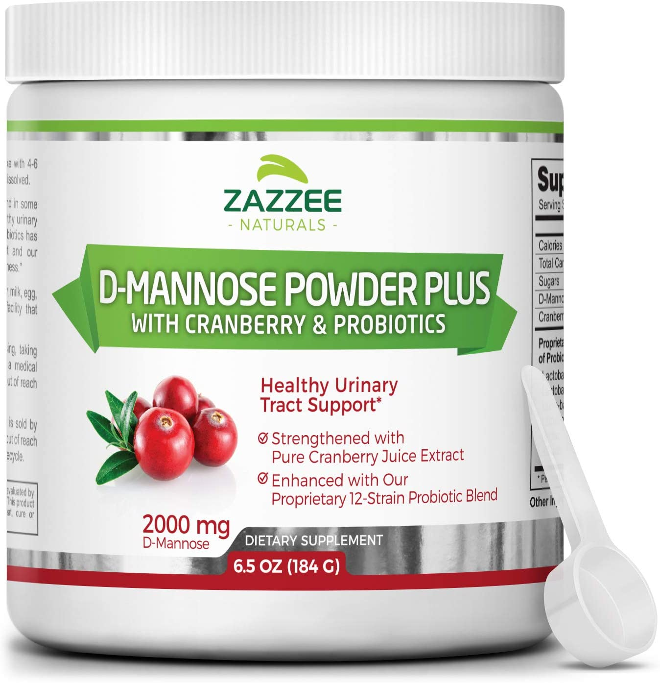 Zazzee D-Mannose Powder Plus, 67 Servings, 6.5 Ounces, Plus 5 Billion CFU Probiotics, Enhanced with Pure Cranberry Juice, Includes Free Scoop, Fast-Acting, Vegan, Non-GMO and All-Natural: Health & Personal Care
