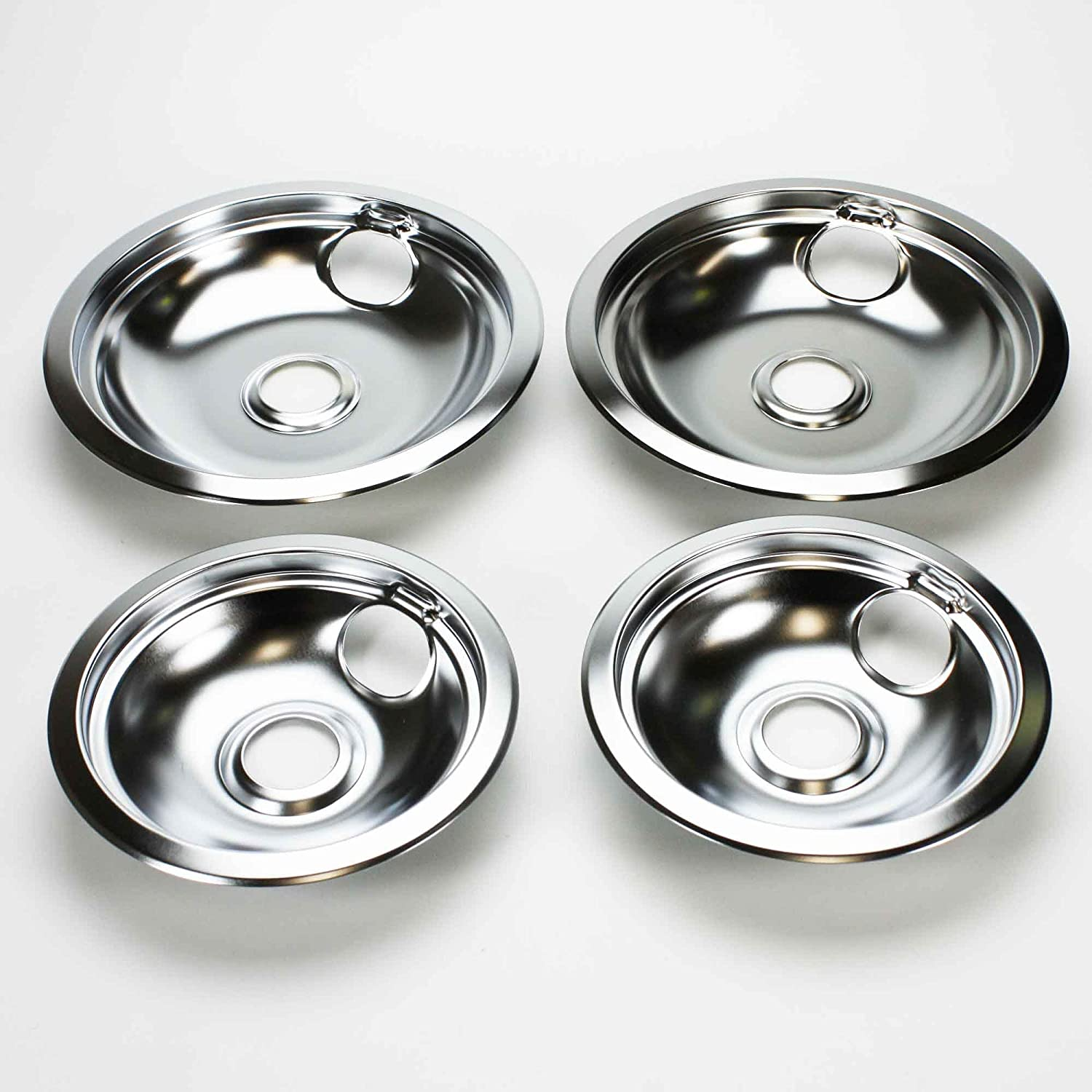 """316048413 AND 316048414 OEM FRIGIDAIRE KENMORE BRAND DRIP PAN SET - INCLUDES (2) 6"""" PANS AND (2) 8"""" PANS"""