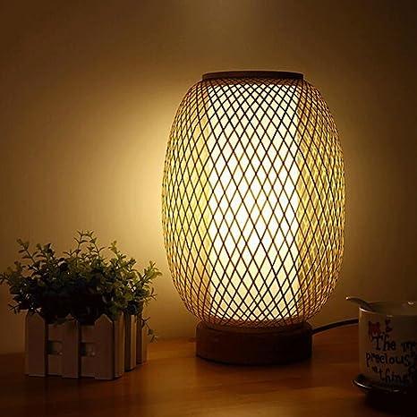 YHJ Lámpara de mesa hecha a mano de bambú japonesa pequeña ...