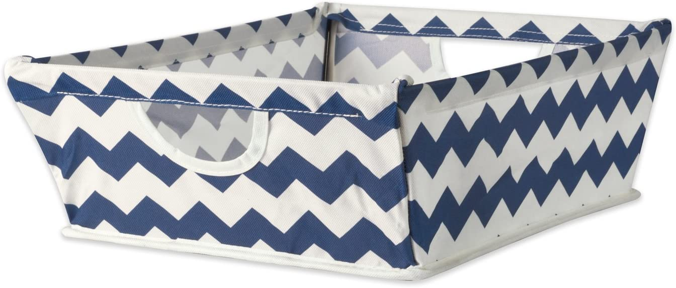"DII Collapsible Polyester Trapezoid Storage Basket, Home Organizational Solution for Office, Bedroom, Closet, & Toys (Tray - 16x12x5"") Nautical Blue Chevron"