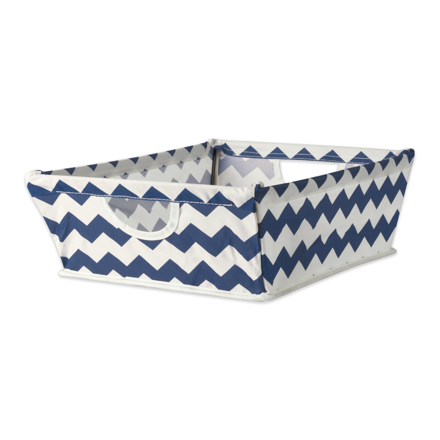 DII Collapsible Polyester Trapezoid Storage Basket, Home Organizational Solution for Office, Bedroom, Closet, & Toys (Tray - 16x12x5'') Nautical Blue Chevron