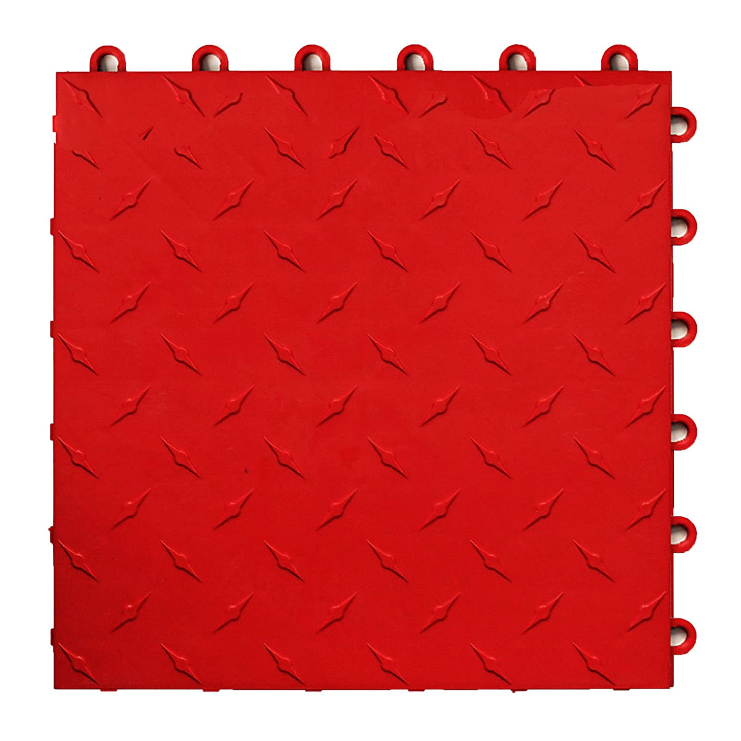 Speedway Garage Tile Interlocking Garage Flooring 6 LOCK Diamond Tile Red 25 pack Speedway Garage Tile Mfg 789453R25 ceramic-floor-tiles