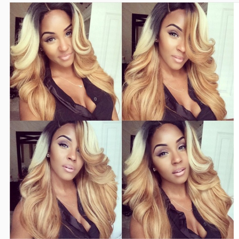 Human Hair Ombre Blonde Full Lace Wigs Dark Root Loose Wave Bleached Knot Pre Plucked Hairline 180% Density Lace Front Wig (20'', lace frontal wig) by Dreambeauty (Image #1)