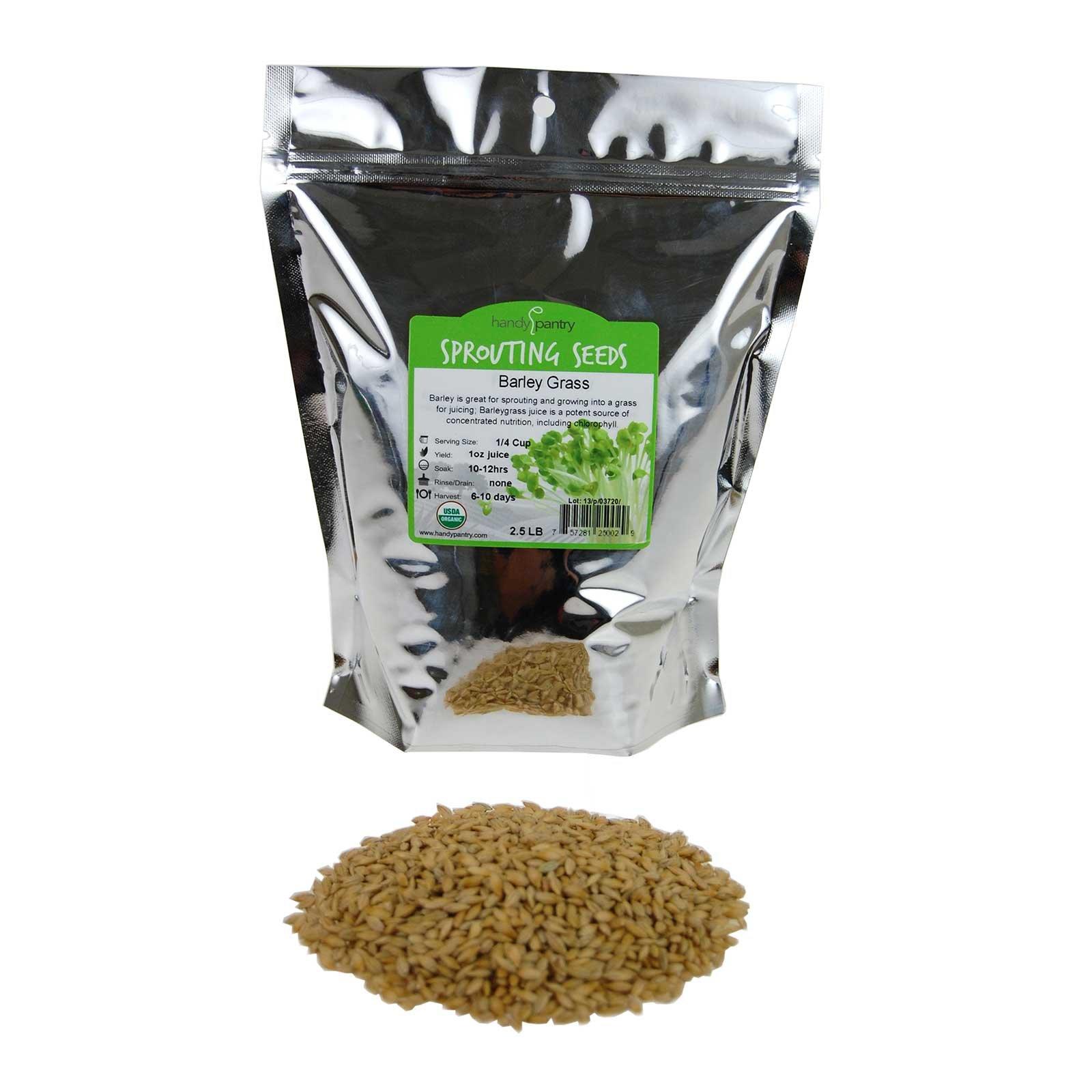 Handy Pantry Organic Barley Seeds - 2.5 Lbs - Whole (Hull Intact) Barleygrass Seed - Ornamental Barley Grass, Juicing - Grain for Beer Making, Emergency Food Storage & More by Handy Pantry (Image #1)