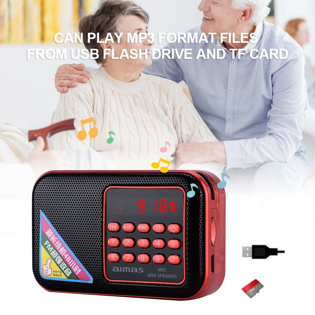 fosa Portable FM Radio, Mini Radio Speaker Noise Canceling Stereo MP3 Player Radio Noise Canceling FM Radio Support USB/TF/AUX for Elderly (Red) by fosa (Image #3)