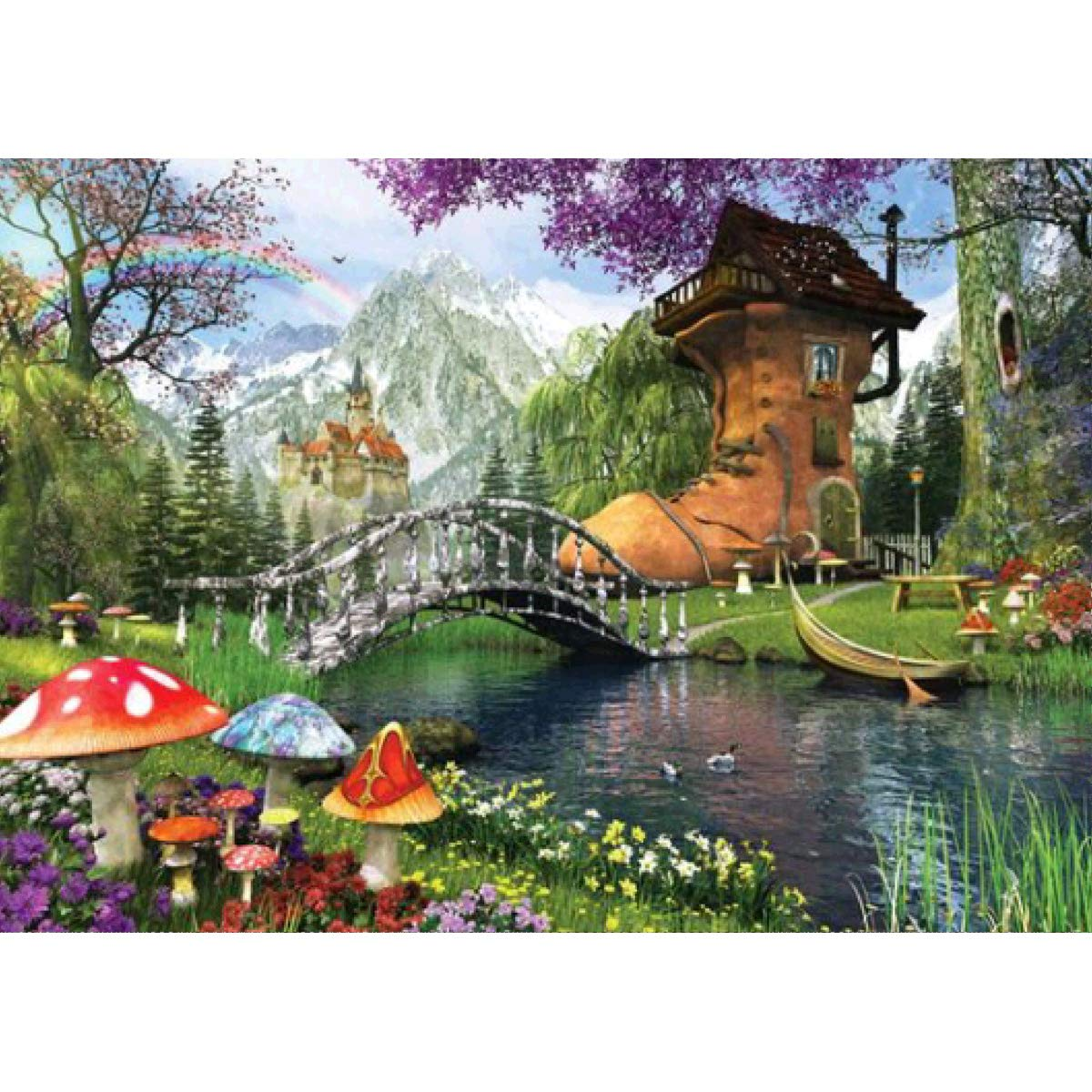 DIY 5D Diamond Painting Full Round Drill Kit Rhinestone Picture Art Craft for Home Wall Decor 12x16In Boot House in Fairy Tales