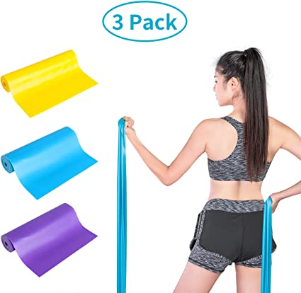 3 Color Strength Training Upgrade 3 Pack Resistance Bands Set Yoga Pilates Physical Therapy Professional Latex Elastic Bands for Home or Gym Upper /& Lower Body Exercise Rehab