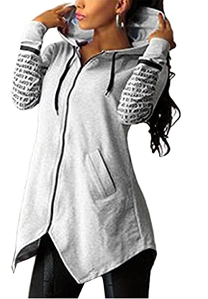 YOGLY Sudaderas Mujer Chaqueta Sudaderas con Capucha Cremallera de Manga Larga de Mujer Chaqueta con Capucha