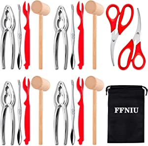 18 Pcs Seafood Tools Set including 8 Forks 4 Lobster Crackers Nut Cracker and 4 Lobster Crab Mallets 2 Seafood Scissors