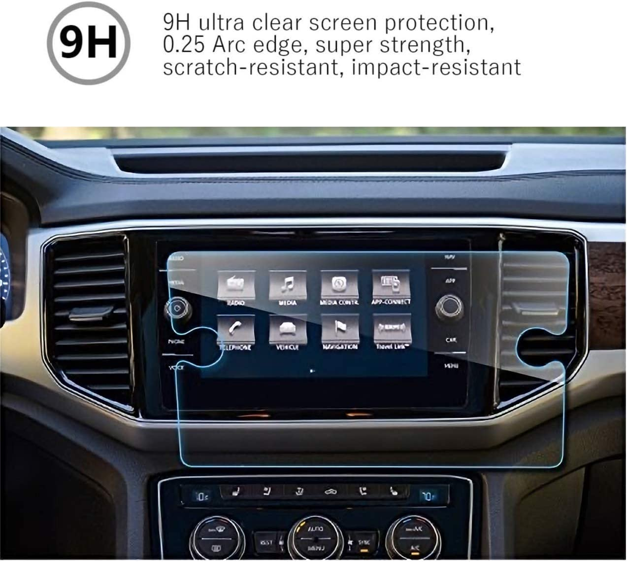 MBSIX Tempered Glass Screen Protector Compatiple with 2018-2020 Volkswagen Atlas 8 Inch Touch Screen,HD Clear,Scratch-Resistant,Anti Glare,Protecting Volkswagen 8 Inch Screen