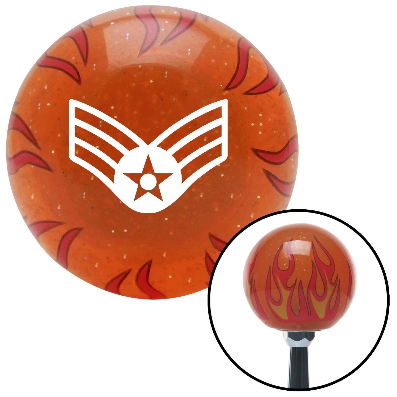 American Shifter 254354 Orange Flame Metal Flake Shift Knob with M16 x 1.5 Insert White Senior Airman