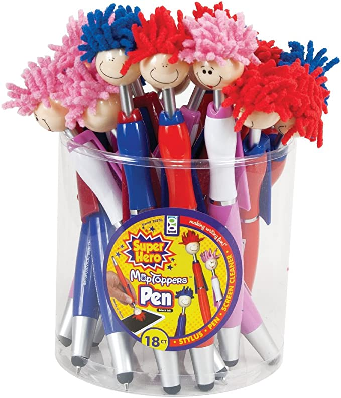 retractable ballpoint pens with black ink 3 Novelty Mop Head Pens with Microfiber Hair Pens For Kids and Adults