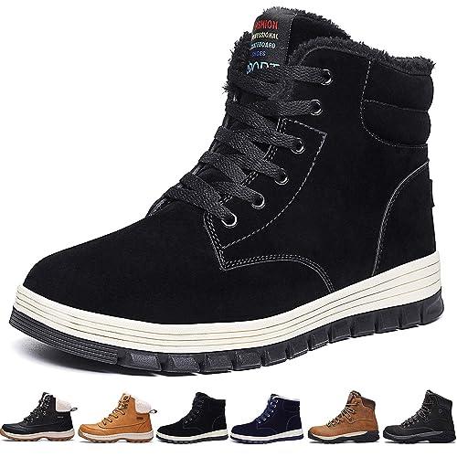 01c0474fd5a39 SIXSPACE Cheville Bottes Hommes Neige Hiver Fourrees Chaussures de Chaudes  Skateboard(Noir,40 EU