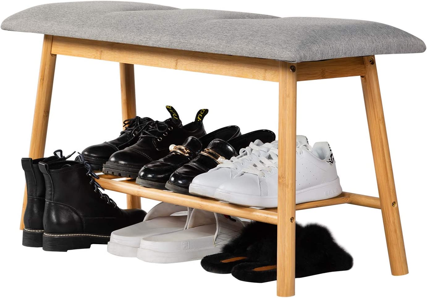 ZHU CHUANG Bamboo Shoe Rack with Cushioned Seat Shoe Bench for Entryway, Hallway, Bedroom and Closet (Cushioned Bench)