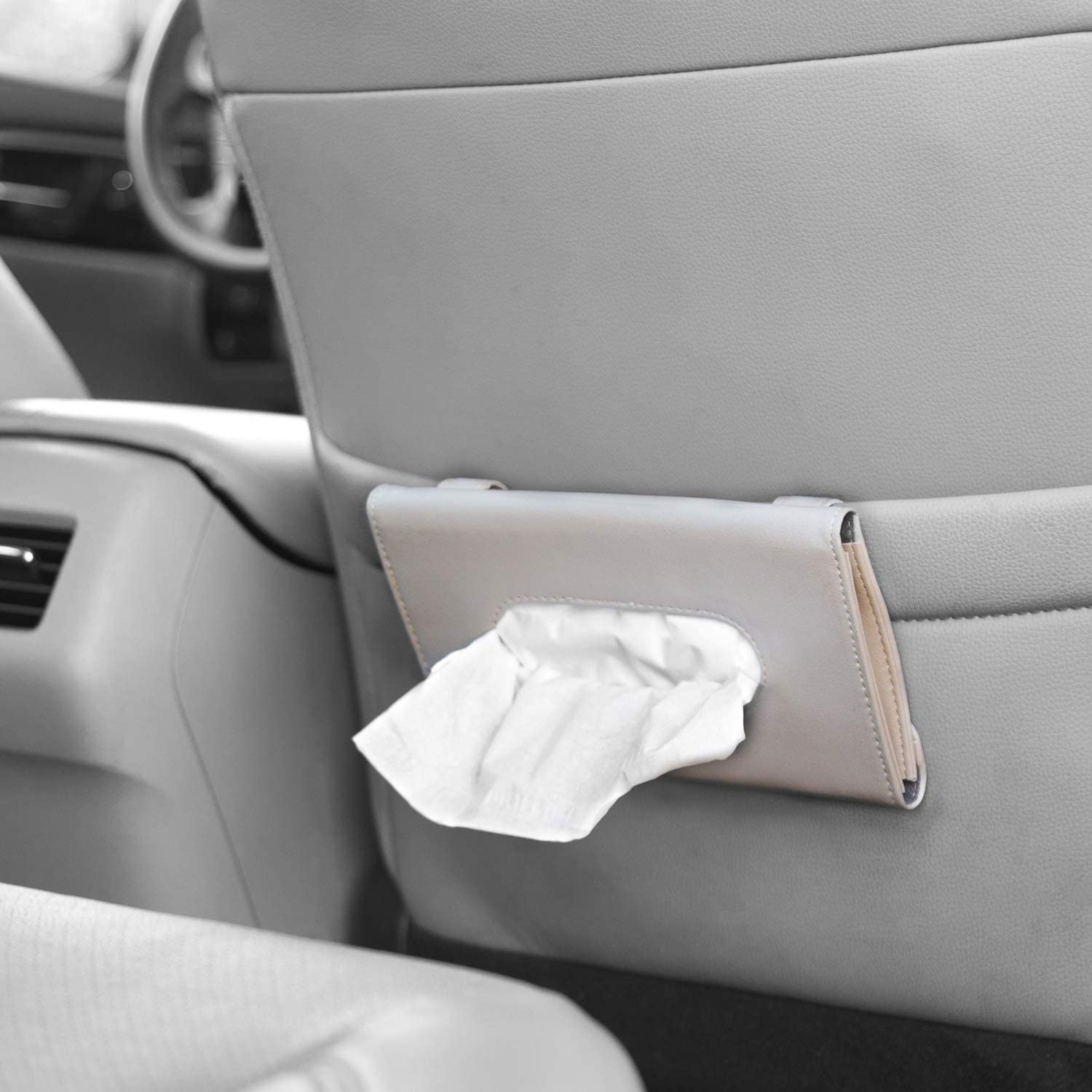 Bonus Pack of Napkins Included lebogner Car Sun Visor Tissue Holder Interior Accessories Pouch for Wipes Beige PU Leather Tissue Dispenser Hanging Case to Clip On Your Car Door Or Back Seat Pocket