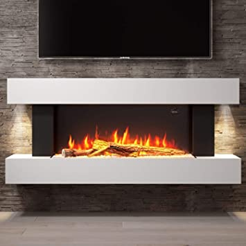 Amberglo White Wall Mounted Electric Fireplace Suite With Log