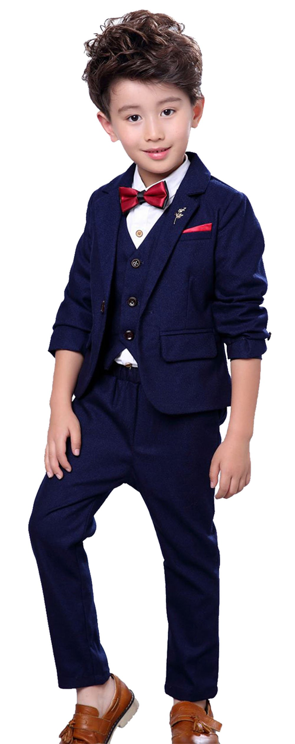 Children 3 Pcs Suit Set Vintage Plaid British Style Formal Suit Set for Wedding Party Classic Tuxedo Suit Blue 3T