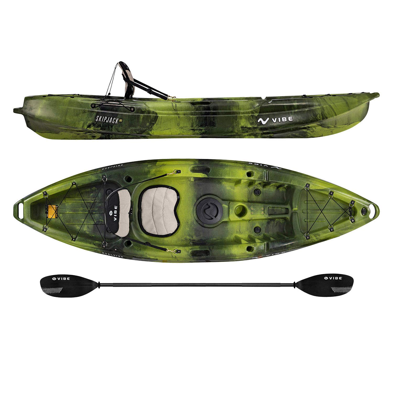 Vibe Kayaks Skipjack 90   9 Foot   Angler and Recreational Sit On Top Light Weight Fishing Kayak with Paddle and Seat (Moss Camo)