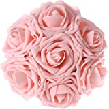 Ling's moment Artificial Flowers 50pcs Peachy Pink Real Looking Artificial Roses w/Stem for Wedding Bouquets Centerpieces Party Baby Shower Decorations DIY