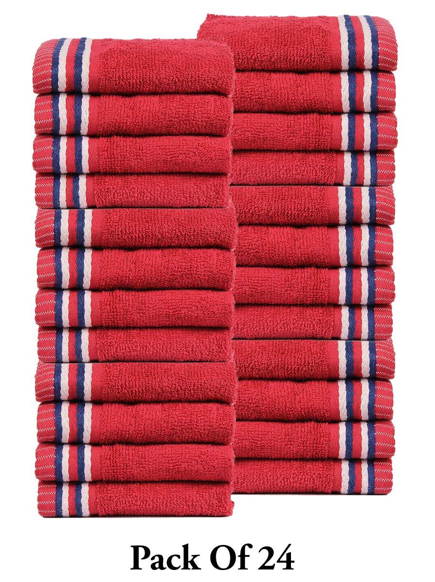 CASA COPENHAGEN Trident Candy Stripes 400 GSM Super Soft 24 Pack Baby Wash Cloth Burp Towels, Red by CASA COPENHAGEN