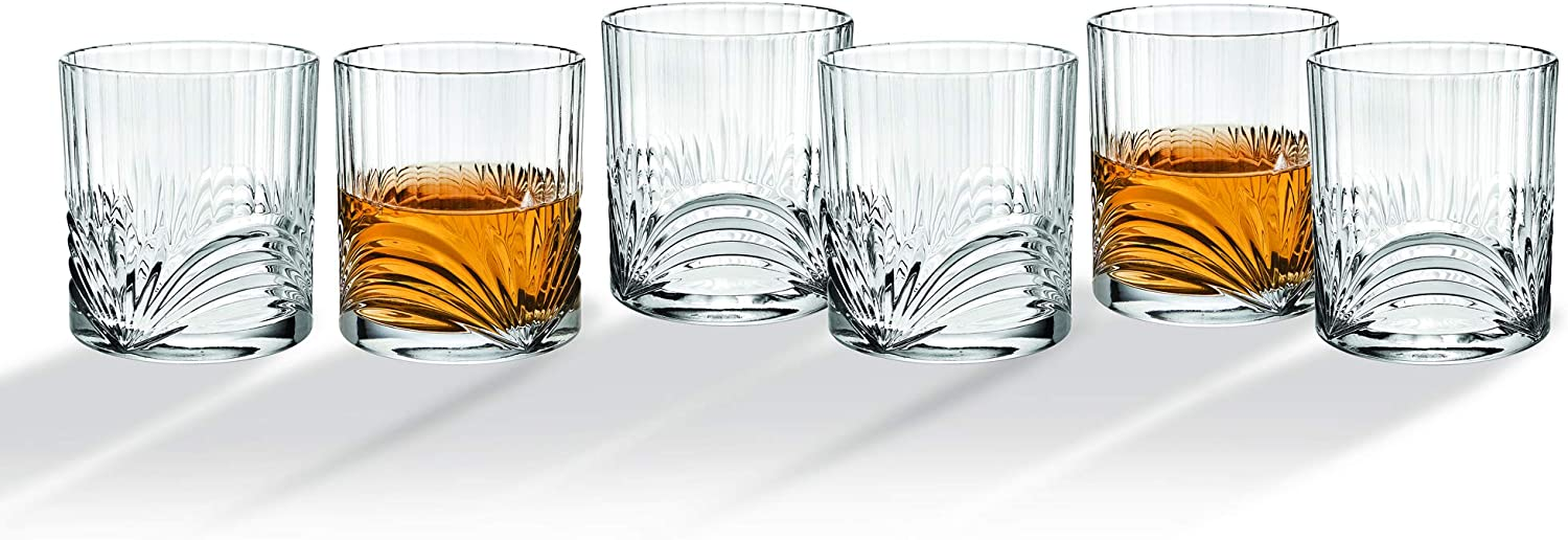Whiskey Glasses Tumbler Bar Glass Set - Drink Glassware for Wine, Scotch, Water, Juice, Beer and Cocktails - 10oz, Set of 6