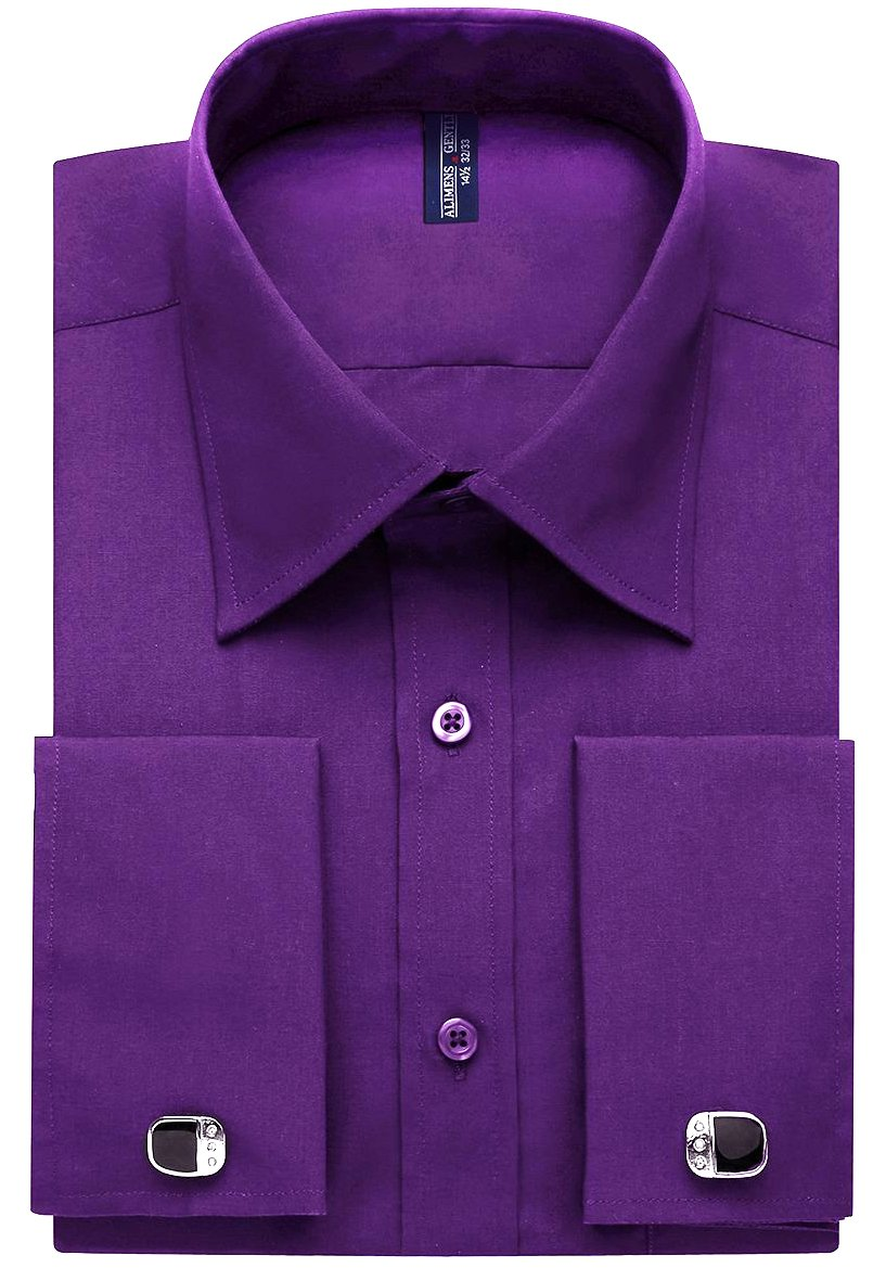 Alimens & Gentle French Cuff Regular Fit Dress Shirts (Cufflink Included),17.5'' Neck - 34''/35'' Sleeve,Violet