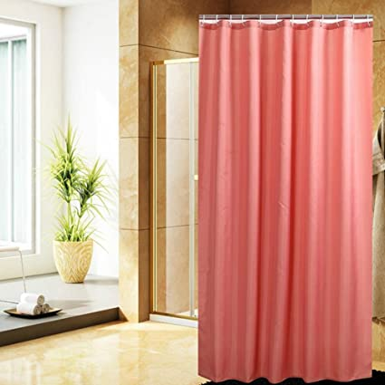 Fanjow Mildew Resistant Fabric Shower Curtain Water Repellent Bathroom Solid Color Polyester Bath