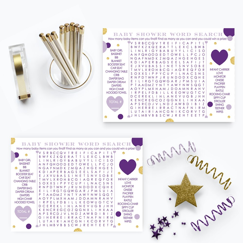 Purple and Gold Word Search Baby Shower Game - Set of 25 Cards - Abstract Dot Design by Paper Clever Party (Image #2)