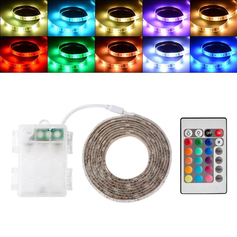 2m RGB LED Lights de bande Lumineux /à piles RVB LED de batterie flexible de corde Lumi/ères de corde Waterproofwith Batterie Power Box et t/él/écommande