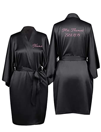 51e9a974322 SIORO Personalized Robes for Bridesmaid Bride Wedding Party Custom Silk Bathrobe  Womens Short Kimono Dressing Gown