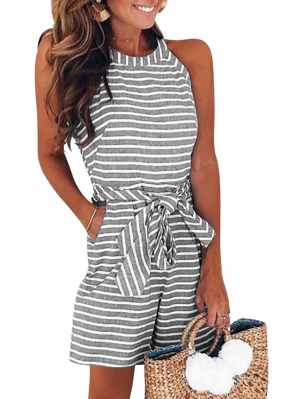 EverChic Women Stripe Romper Sleeveless Zipper Short Jumpsuit Casual Style