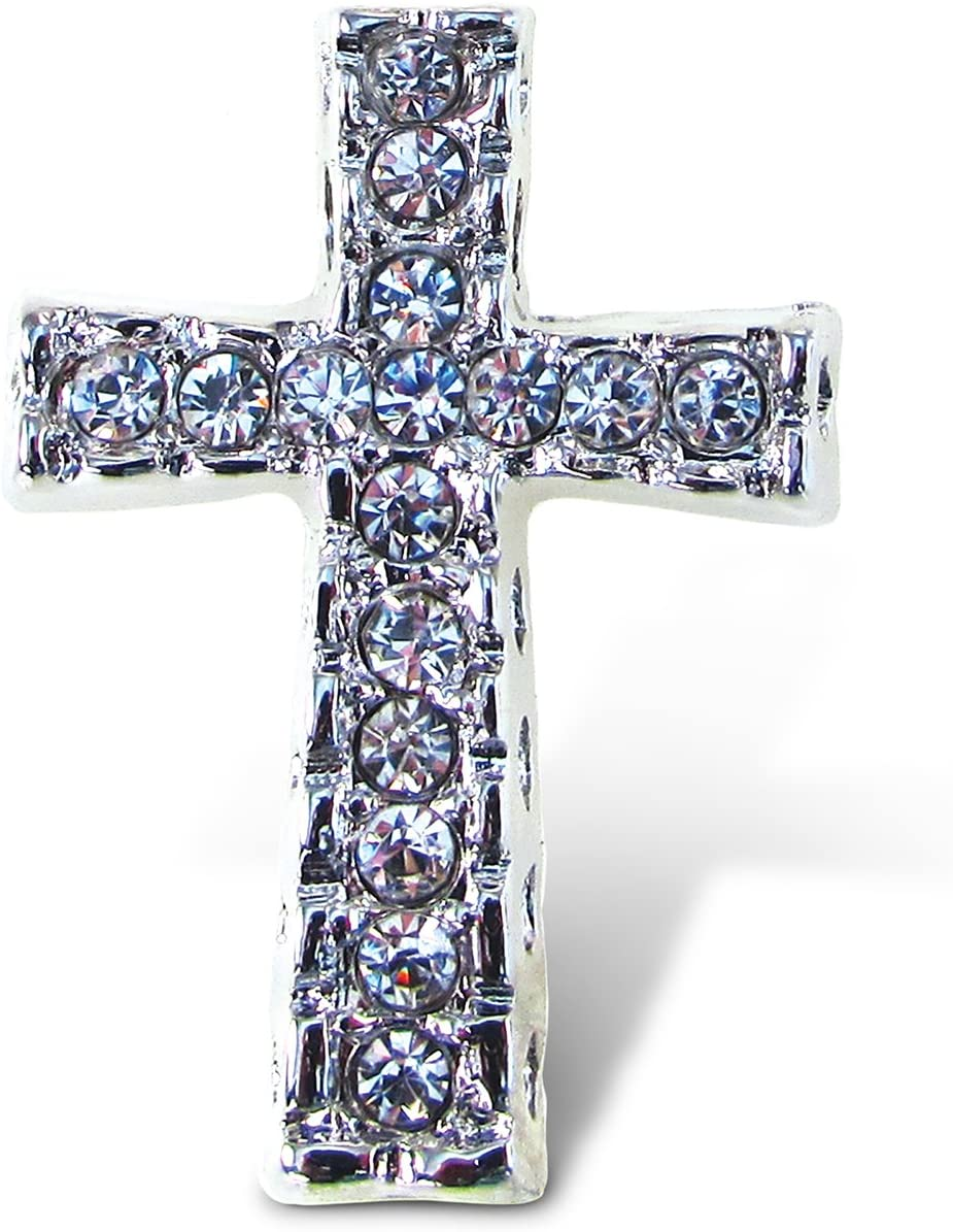 Puzzled Cross Refrigerator Sparkling Magnets with Crystals, 5, Silver