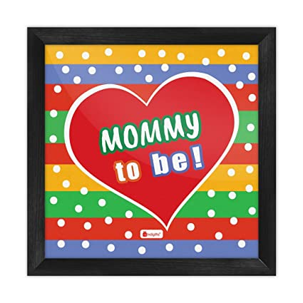Indigifts Home Decor Mom Birthday Gift Mommy To Be Quote Heart Print Over Colorful Strip Pattern Poster Frame 6X6 Inches Amazonin Kitchen