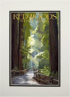 product image for Redwoods Park, California - Pathway in Trees (11x14 Double-Matted Art Print, Wall Decor Ready to Frame)