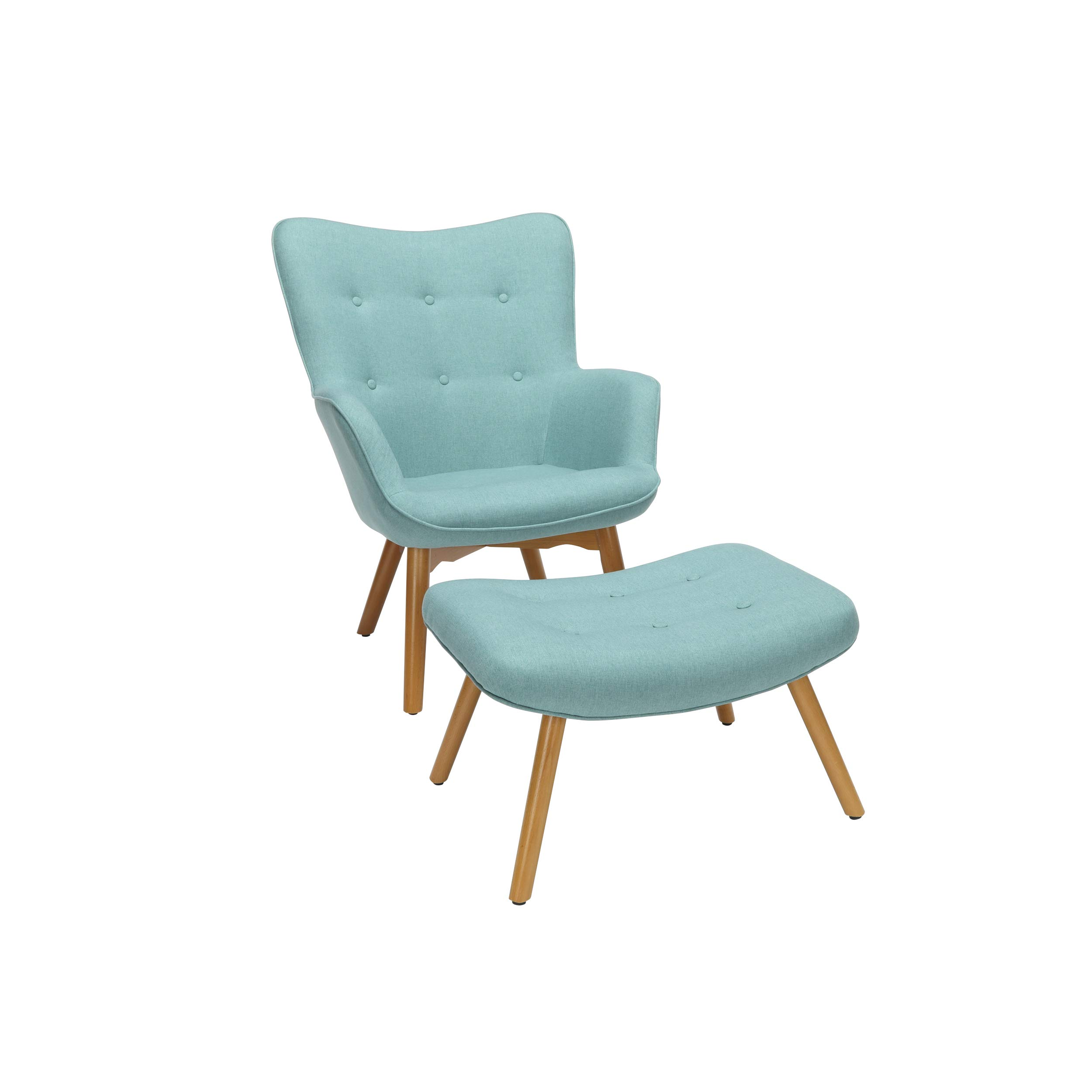 OFM 161 Collection Mid Century Modern Tufted Fabric Lounge Chair with Ottoman, Solid Honey Beechwood Legs, in Teal by OFM
