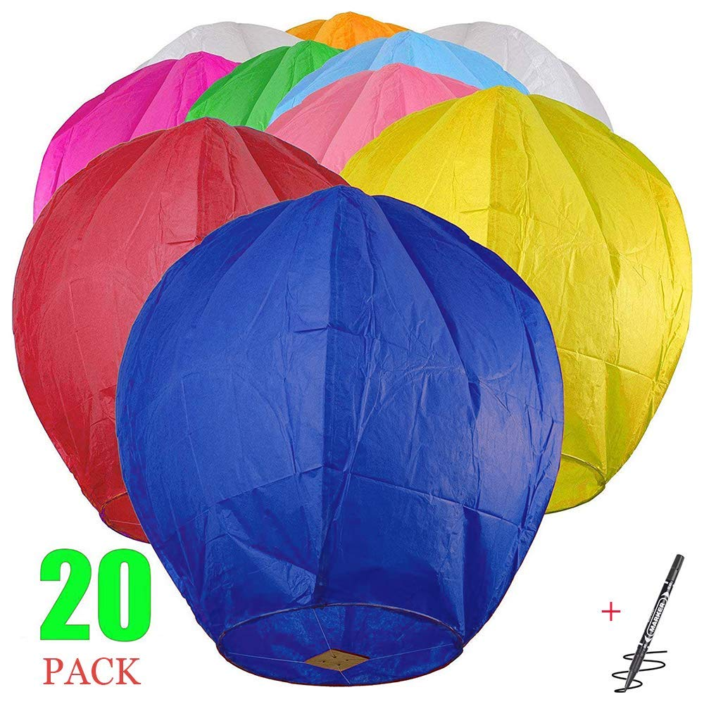 Maylai 20Pcs Sky Lanterns Flying Paper Lanterns Chinese Wish Lanterns for Birthday Wedding Party Anniversary Chinese Lanterns Assorted Colors 100% Biodegradable Environmentally Friendly! by Maylai