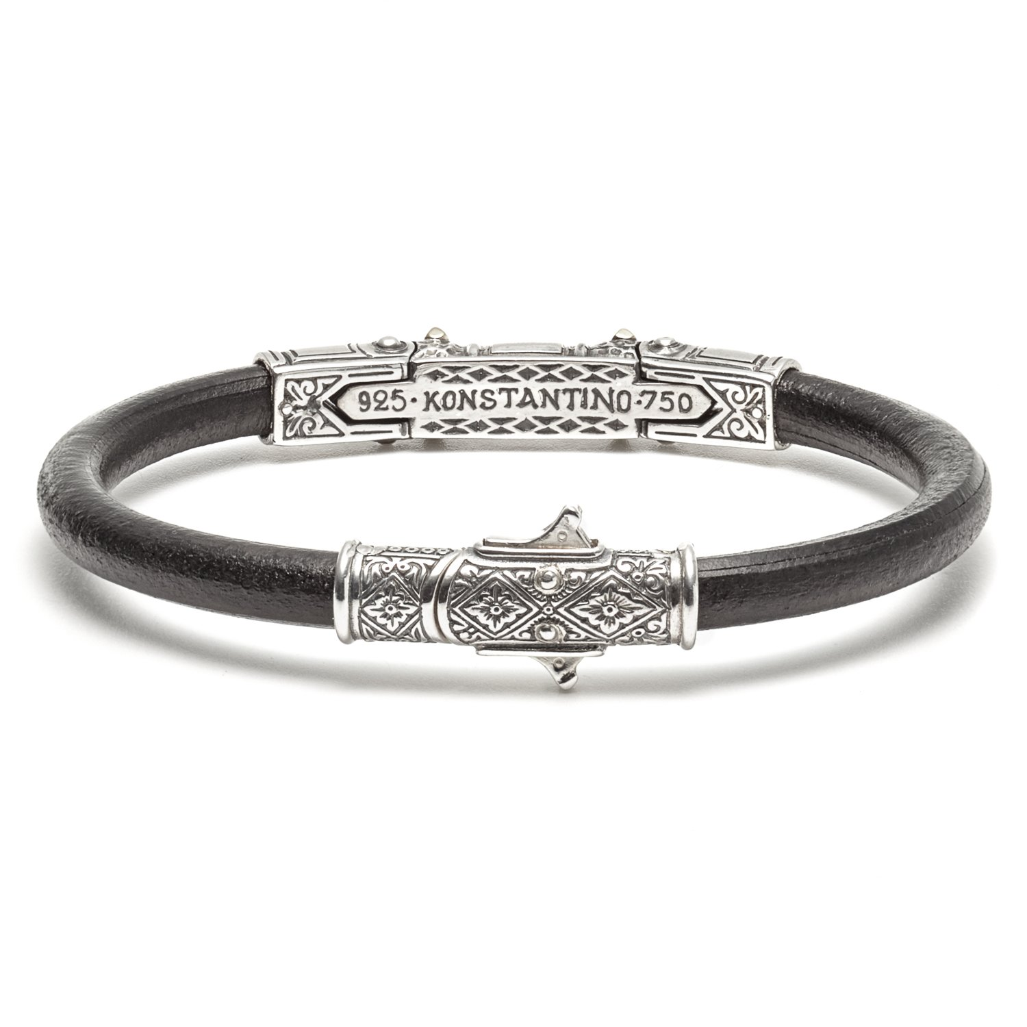 Konstantino Hephaestus Collection Silver and Gold Leather Bracelet by Konstantino (Image #2)