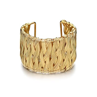 Tensiómetro de brazo de oro entrelazados pulsera de malla de alambre Armlet brazalete ajustable 43 mm de ancho: Amazon.es: Joyería