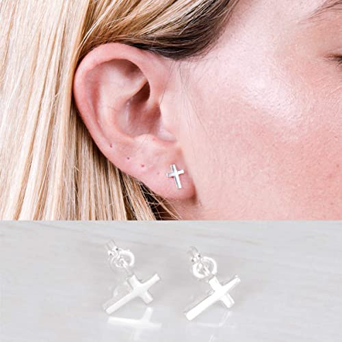 Sterling Silver 6mm Cross on Heart Post Stud Earrings.